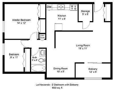 La Hacienda 2 bedroom plan with balcony